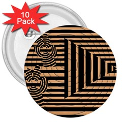 Wooden Pause Play Paws Abstract Oparton Line Roulette Spin 3  Buttons (10 Pack)