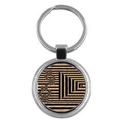 Wooden Pause Play Paws Abstract Oparton Line Roulette Spin Key Chains (round)