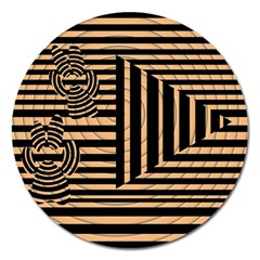 Wooden Pause Play Paws Abstract Oparton Line Roulette Spin Magnet 5  (round)