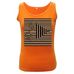 Wooden Pause Play Paws Abstract Oparton Line Roulette Spin Women s Dark Tank Top