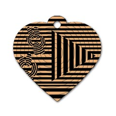 Wooden Pause Play Paws Abstract Oparton Line Roulette Spin Dog Tag Heart (one Side)