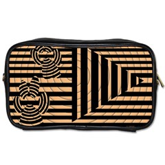 Wooden Pause Play Paws Abstract Oparton Line Roulette Spin Toiletries Bags 2 Side