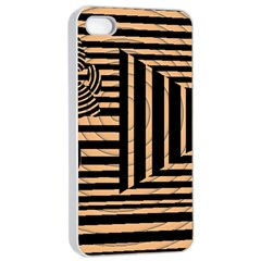 Wooden Pause Play Paws Abstract Oparton Line Roulette Spin Apple Iphone 4/4s Seamless Case (white)