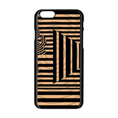 Wooden Pause Play Paws Abstract Oparton Line Roulette Spin Apple Iphone 6/6s Black Enamel Case