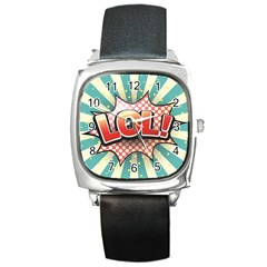 Lol Comic Speech Bubble  Vector Illustration Square Metal Watch