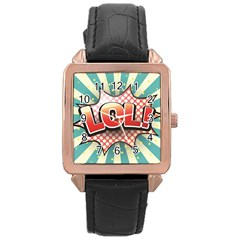 Lol Comic Speech Bubble  Vector Illustration Rose Gold Leather Watch