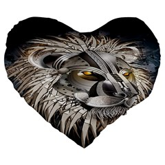 Lion Robot Large 19  Premium Flano Heart Shape Cushions
