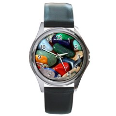 Stones Colors Pattern Pebbles Macro Rocks Round Metal Watch