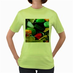 Stones Colors Pattern Pebbles Macro Rocks Women s Green T Shirt