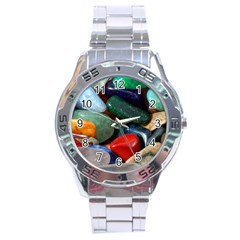 Stones Colors Pattern Pebbles Macro Rocks Stainless Steel Analogue Watch