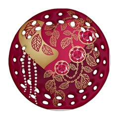 Love Heart Round Filigree Ornament (two Sides)
