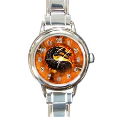 Dragon And Fire Round Italian Charm Watch