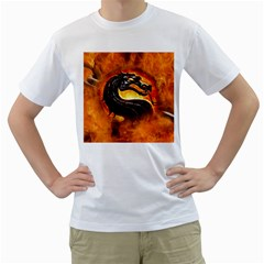Dragon And Fire Men s T Shirt (white) (two Sided)