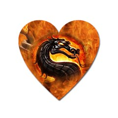 Dragon And Fire Heart Magnet