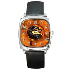Dragon And Fire Square Metal Watch