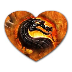 Dragon And Fire Heart Mousepads