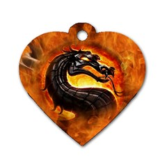 Dragon And Fire Dog Tag Heart (one Side)