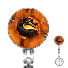 Dragon And Fire Stainless Steel Nurses Watch
