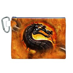 Dragon And Fire Canvas Cosmetic Bag (xl)