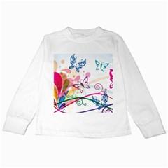 Butterfly Vector Art Kids Long Sleeve T Shirts