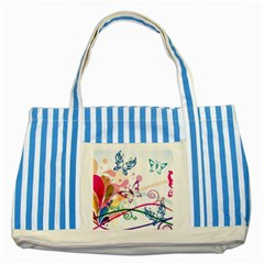 Butterfly Vector Art Striped Blue Tote Bag