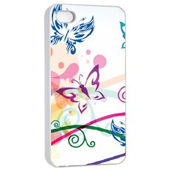Butterfly Vector Art Apple Iphone 4/4s Seamless Case (white)