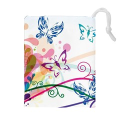 Butterfly Vector Art Drawstring Pouches (extra Large)