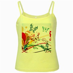 Butterfly Vector Art Yellow Spaghetti Tank