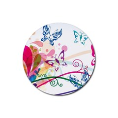Butterfly Vector Art Rubber Round Coaster (4 Pack)