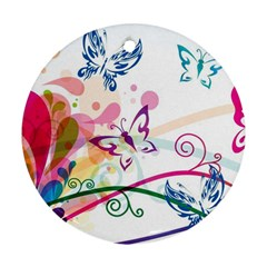 Butterfly Vector Art Round Ornament (two Sides)
