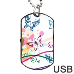 Butterfly Vector Art Dog Tag Usb Flash (one Side)