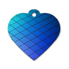 Blue Pattern Plain Cartoon Dog Tag Heart (two Sides)