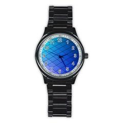 Blue Pattern Plain Cartoon Stainless Steel Round Watch