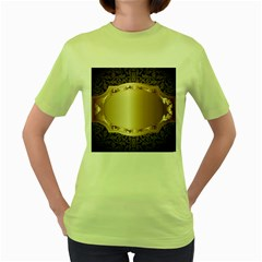 Floral 3 Women s Green T Shirt
