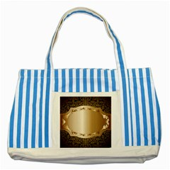 Floral 3 Striped Blue Tote Bag