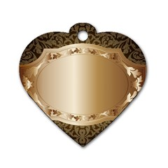 Floral 3 Dog Tag Heart (two Sides)