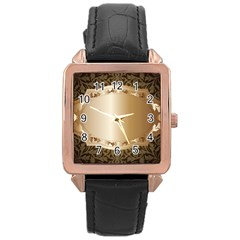 Floral 3 Rose Gold Leather Watch