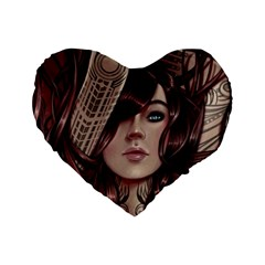 Beautiful Women Fantasy Art Standard 16  Premium Heart Shape Cushions