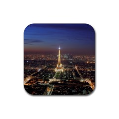Paris At Night Rubber Square Coaster (4 Pack)