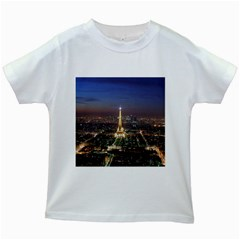 Paris At Night Kids White T Shirts