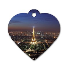 Paris At Night Dog Tag Heart (two Sides)