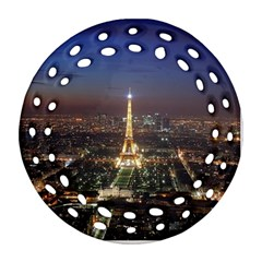 Paris At Night Round Filigree Ornament (two Sides)