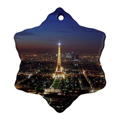 Paris At Night Snowflake Ornament (two Sides)