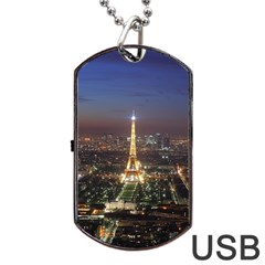 Paris At Night Dog Tag Usb Flash (two Sides)