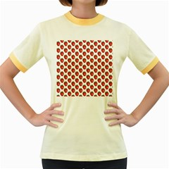 Fruit Strawberry Pattern  Women s Fitted Ringer T Shirts