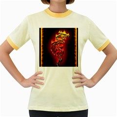Dragon Fire Women s Fitted Ringer T Shirts