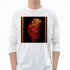 Dragon Fire White Long Sleeve T Shirts