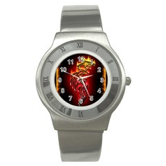 Dragon Fire Stainless Steel Watch