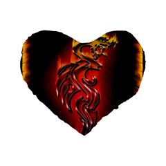 Dragon Fire Standard 16  Premium Heart Shape Cushions