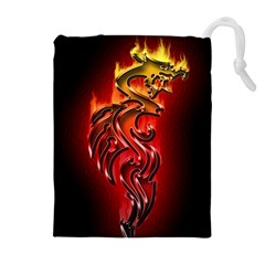 Dragon Fire Drawstring Pouches (extra Large)